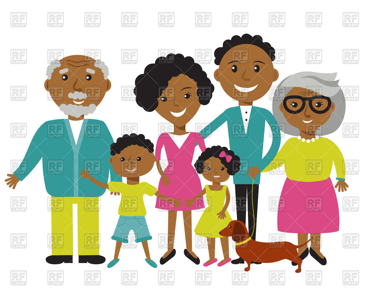 1200x989 Happy African American Family Royalty Free Vector Clip Art Image