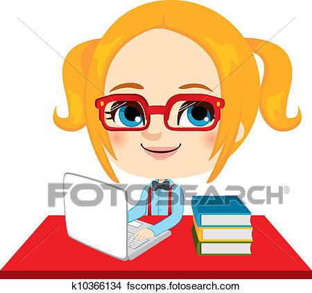 450x422 Clip Art Of Nerdy Girl K20347367
