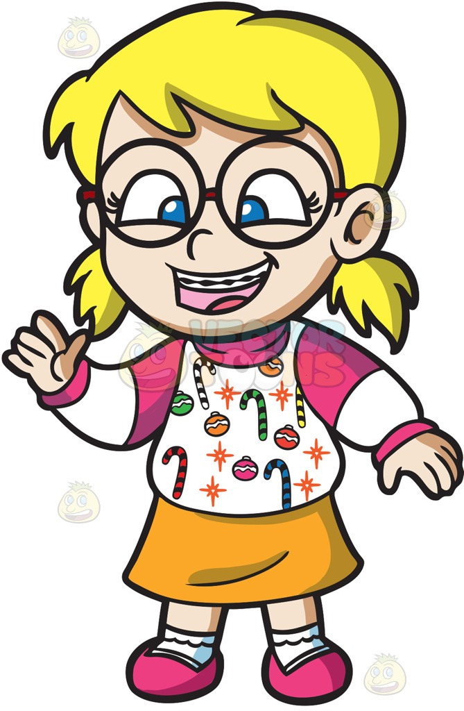 669x1024 A Nerdy Girl In An Ugly Christmas Sweater Cartoon Clipart