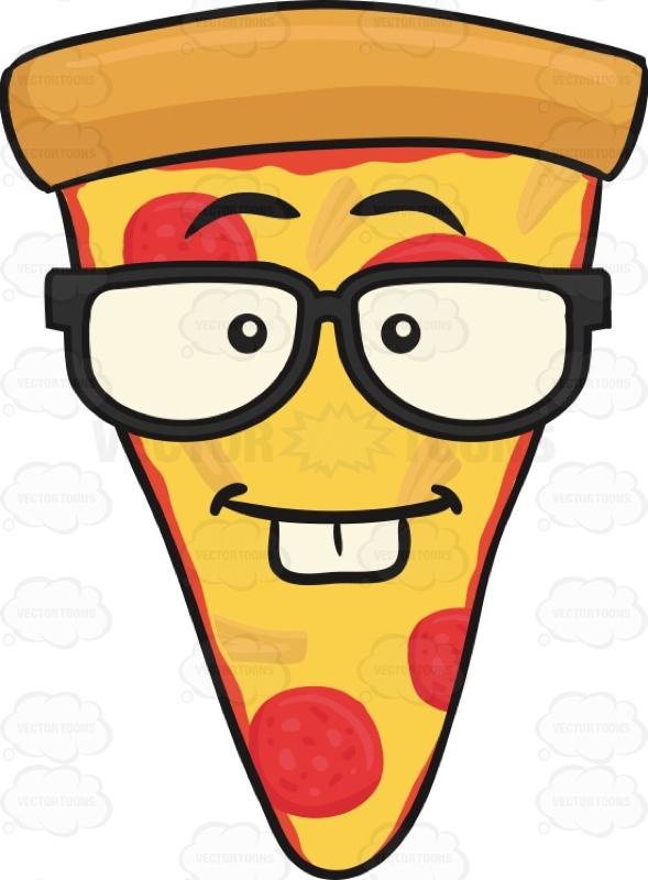 589x800 Nerd Looking Slice Of Pepperoni Pizza Wearing Eyeglasses Emoji