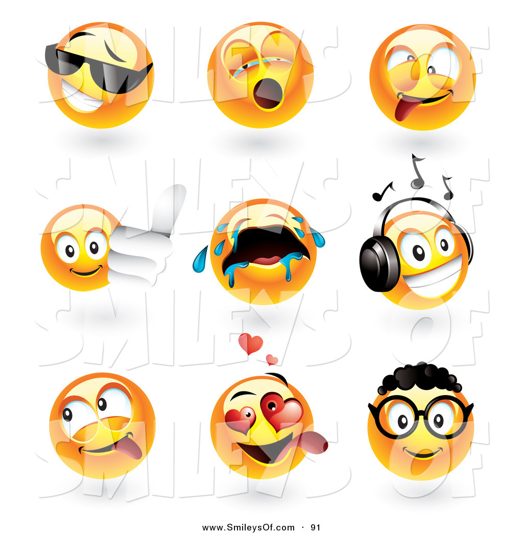 1024x1044 Vector Of A Digital Set Of Emoticon Faces Cool, Yawning, Goofy