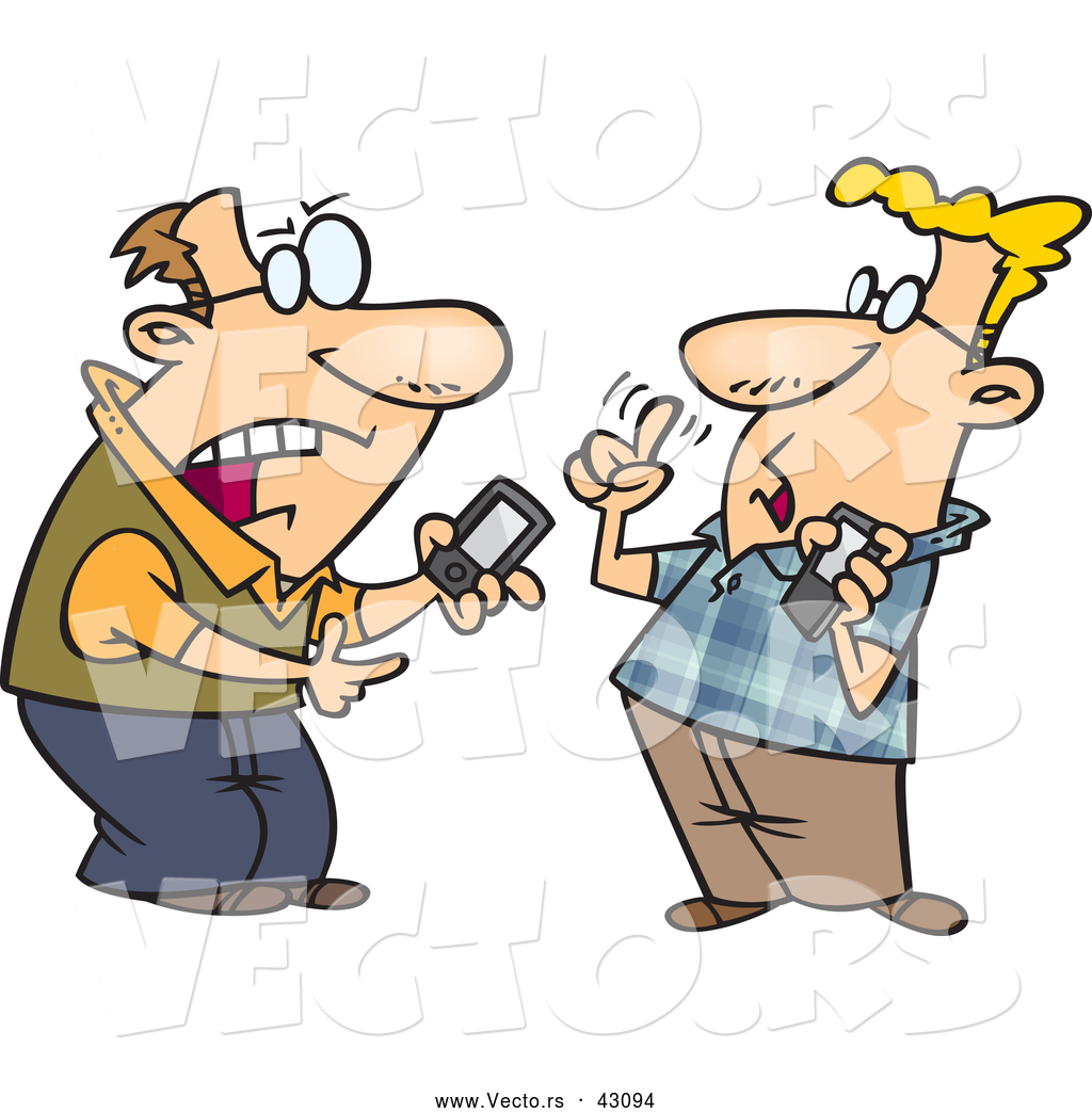 1024x1044 Vector Of Nerdy Cartoon Tech Guys Debating Over Gadgets By