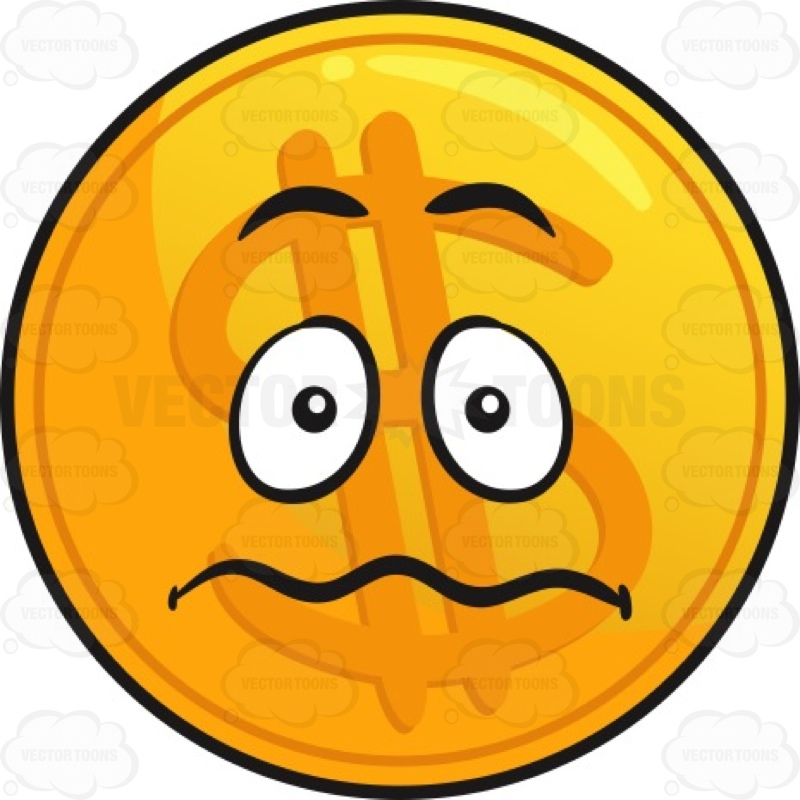 800x800 Nervous Golden Coin Emoji Cartoon Clipart