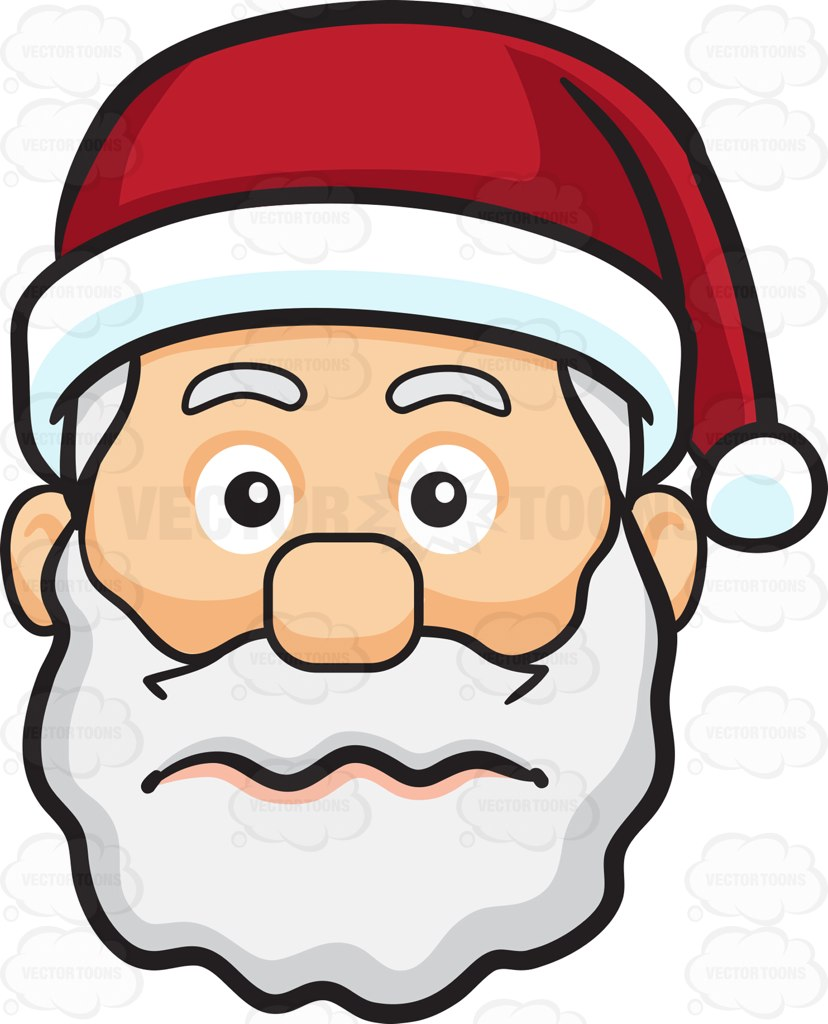 828x1024 A Nervous Face Of Santa Claus Cartoon Clipart