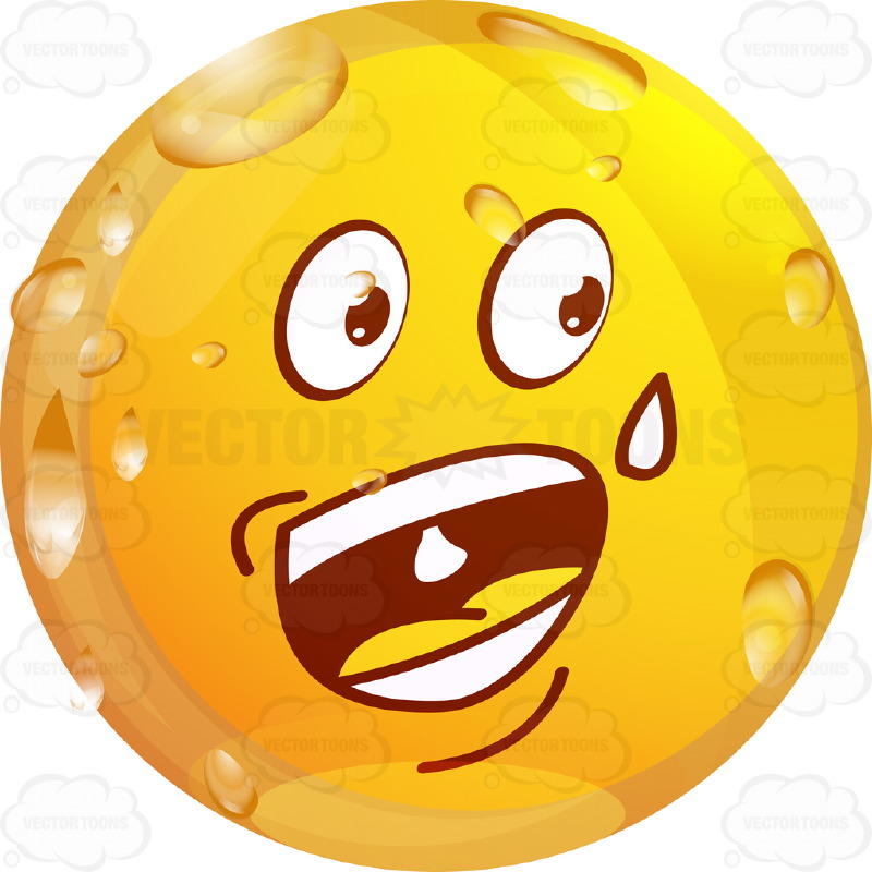 800x800 Sweating, Nervous, Wet Yellow Smiley Face Emoticon Wide Open Mouth