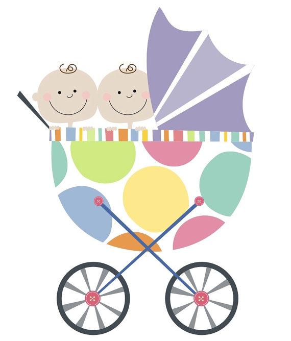 570x668 Twin Baby Buggy Clip Art
