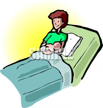 333x350 Royalty Free Clip Art Image Woman In The Maternity Ward With Her