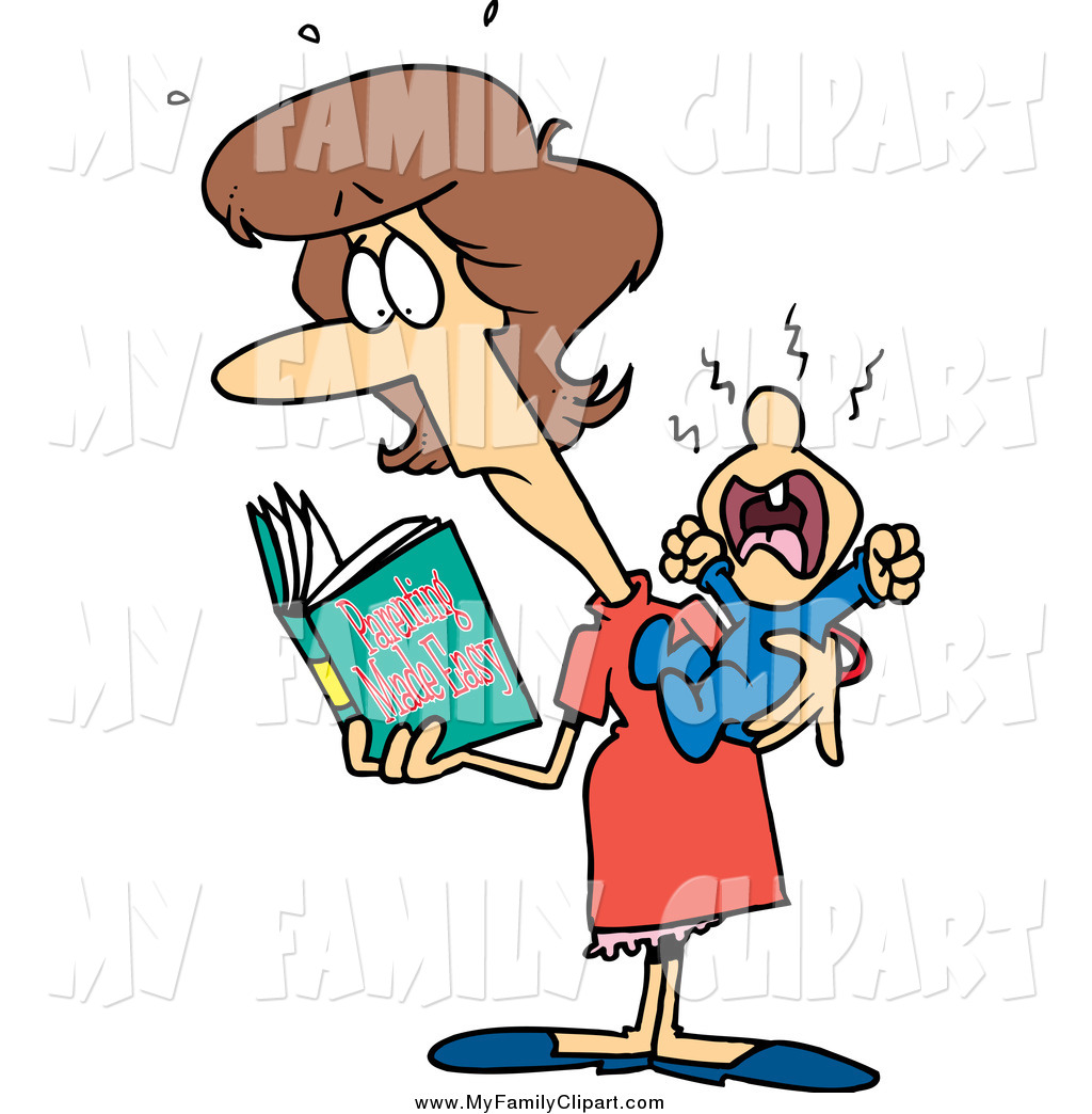 1024x1044 Clip Art of a Cartoon Brunette Caucasian New Mom Reading a