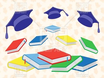 400x300 Colourful New Books And Flying Mortar Boards Royalty Free Vector