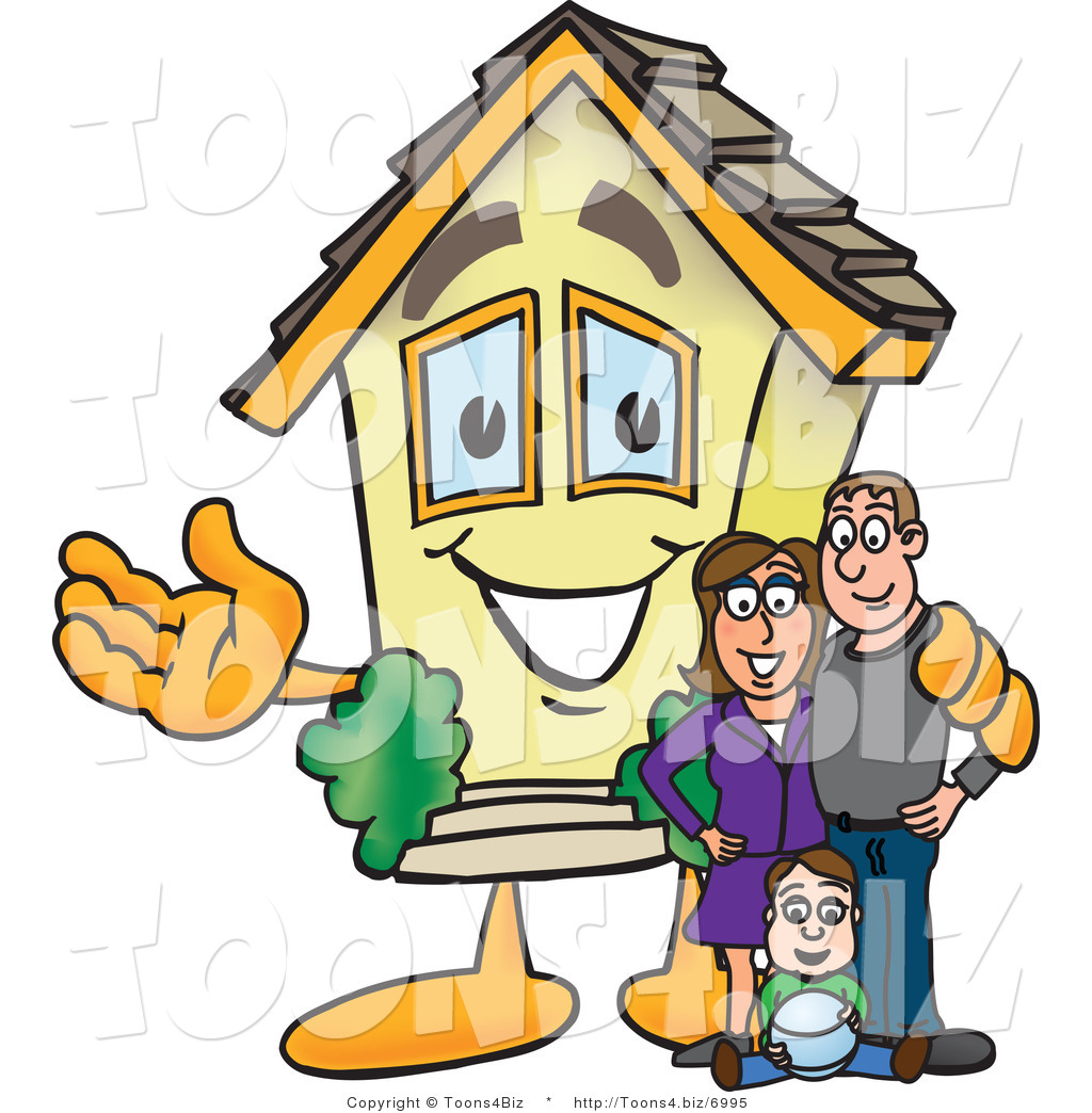 1024x1044 Vector Illustration Of A Happy Home Mascot Beside New Family By