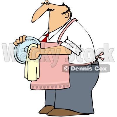 400x400 Clipart Outlined House Husband Drying Dishes
