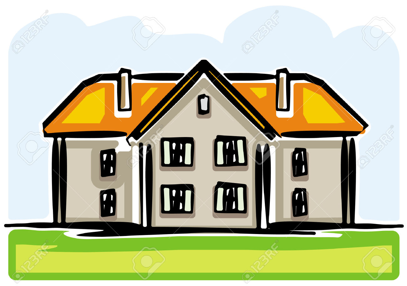 1300x914 Country House Clipart