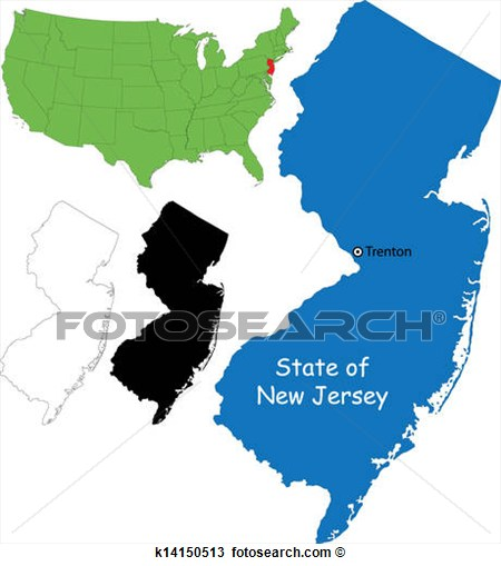 450x509 New Jersey Outline Clipart
