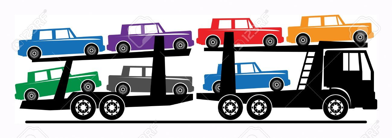 1300x459 Car Carrier Truck Deliver New Auto Royalty Free Cliparts, Vectors