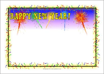 405x287 Happy New Year A4 Page Borders (Sb3590)