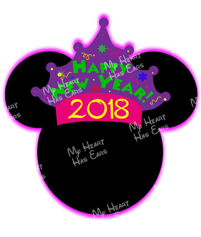 650x767 Mickey Mouse Happy New Year 2018 Head Ears Instant Download