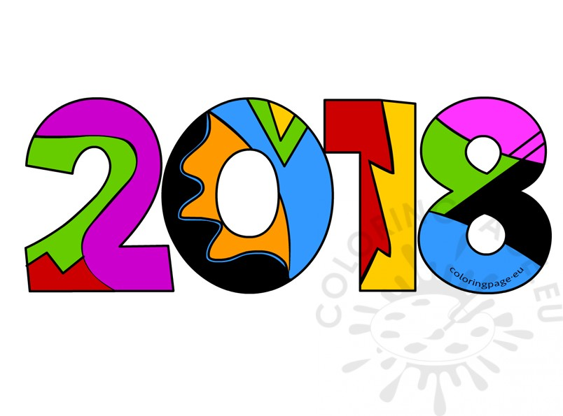 804x595 2018 New Year Clipart Coloring Page