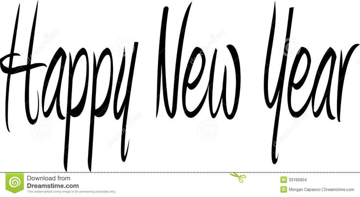 736x403 Happy New Year Black And White Clipart