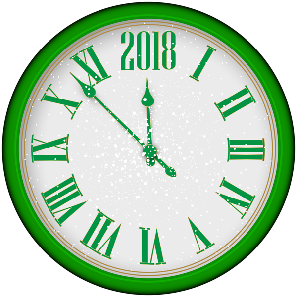 600x600 2018 New Year Green Clock Tree PNG Clip Artu200b Gallery