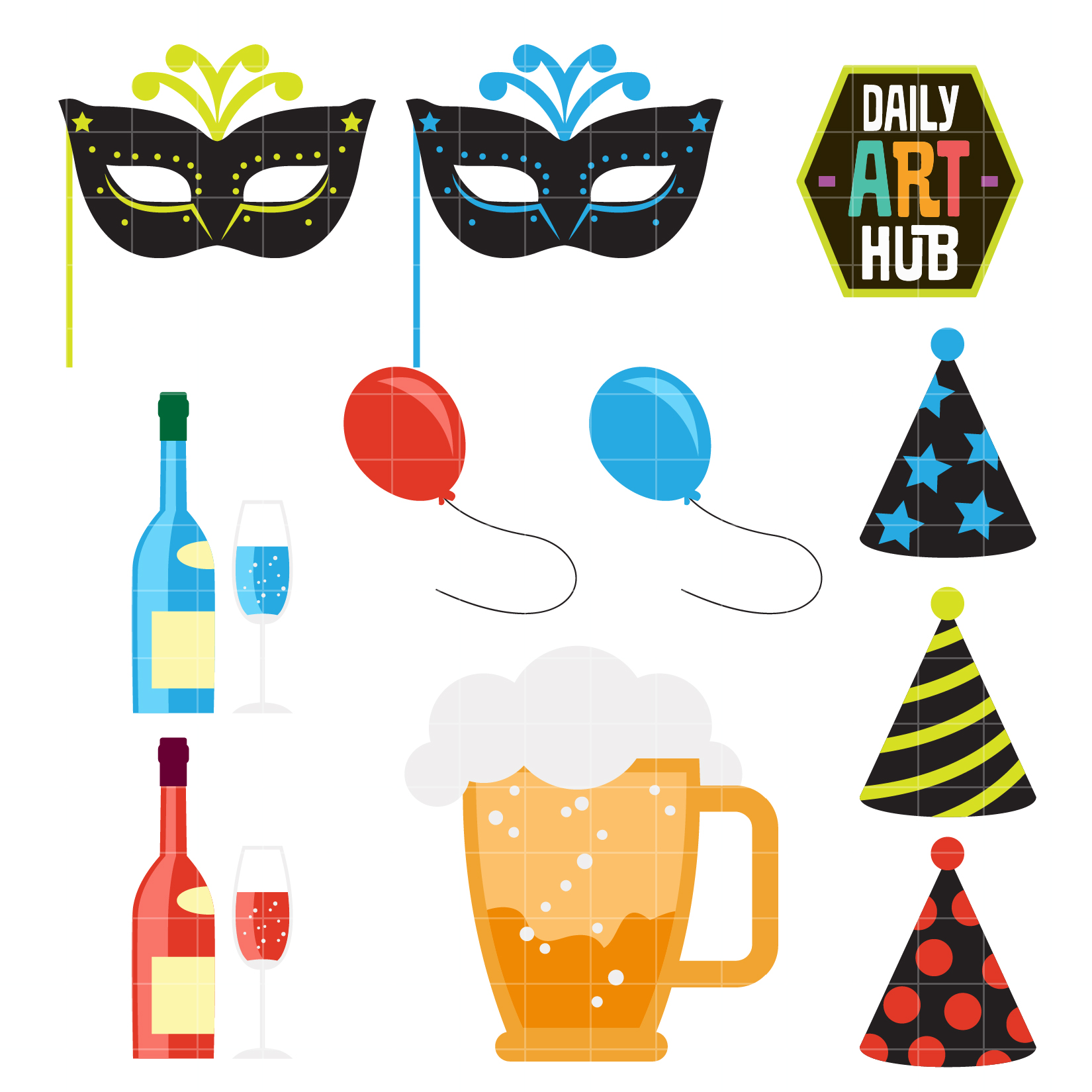1650x1650 New Year's Eve Clip Art Set Daily Art Hub