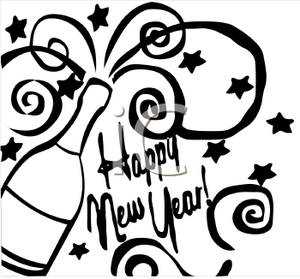 300x279 and White Champagne Bottle with Happy New Year Text Clipart Image