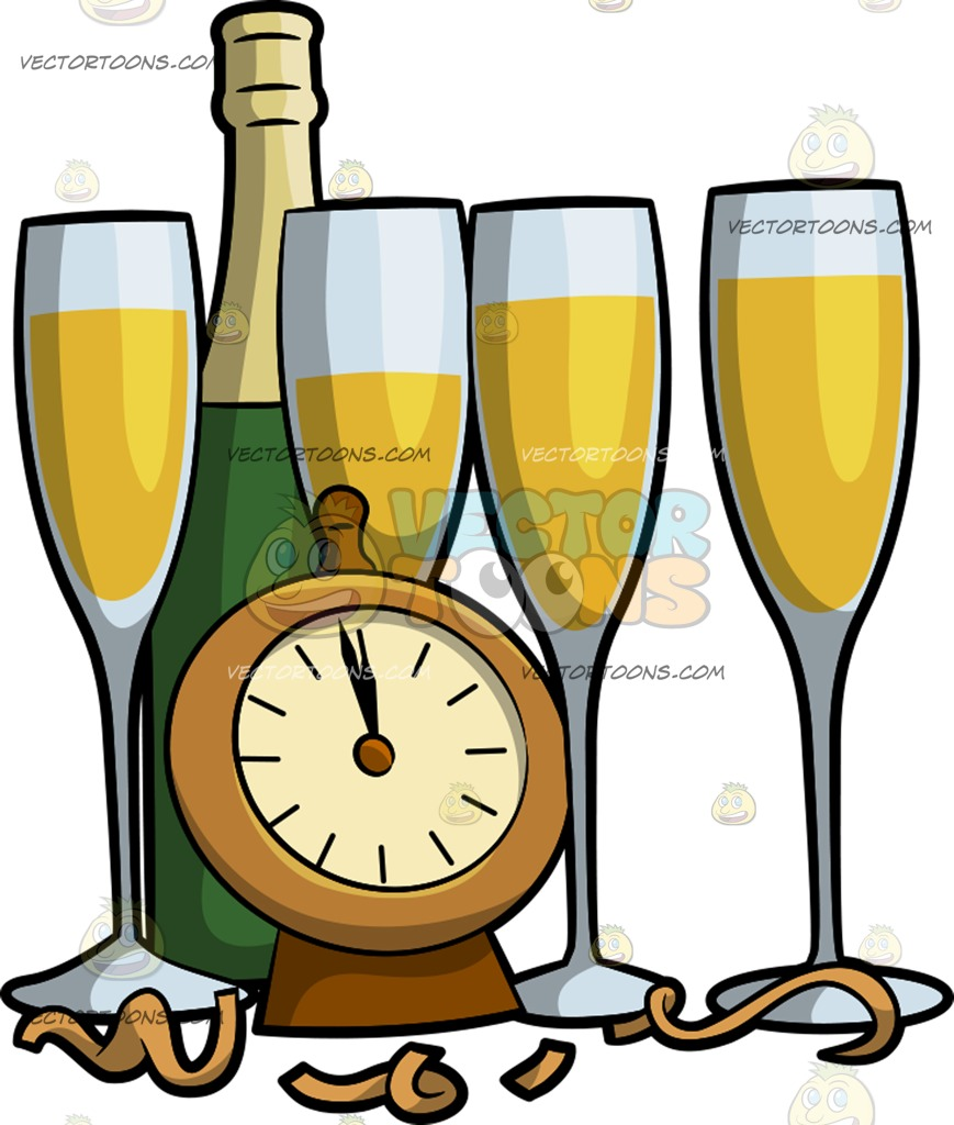 869x1024 New Years Eve Champagne Glasses Cartoon Clipart