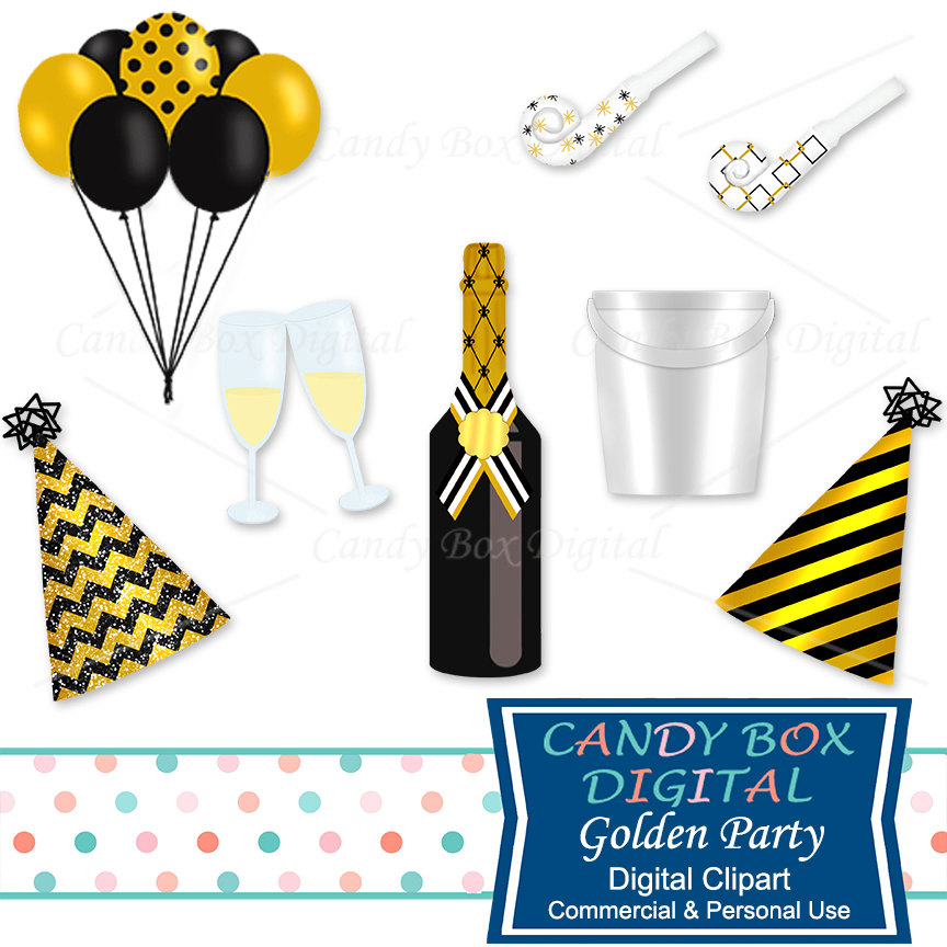 864x864 Gold Party Clipart, New Year Champagne Clip Art
