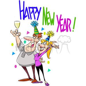 300x300 Royalty Free Happy New Year Party Invitation Vector Cartoon Art