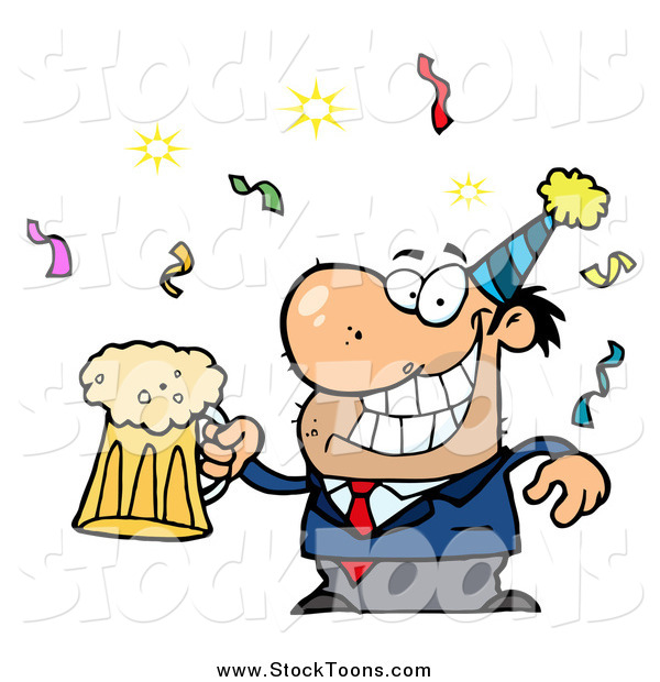 600x620 Stock Cartoon Of A Drunk New Years Party Man Holding Beer By Hit