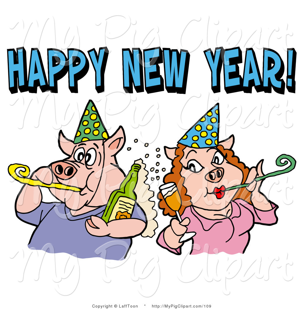 1024x1044 Swine Clipart Of A Pig Couple In Party Hats, Drinking Champagne