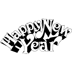 300x300 New Year 2016 Black And White Clipart
