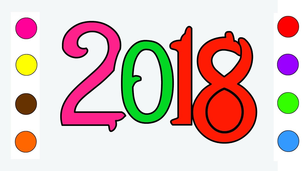 1280x720 Happy New Year 2018 Coloring Pages For Kids Children Toddlers