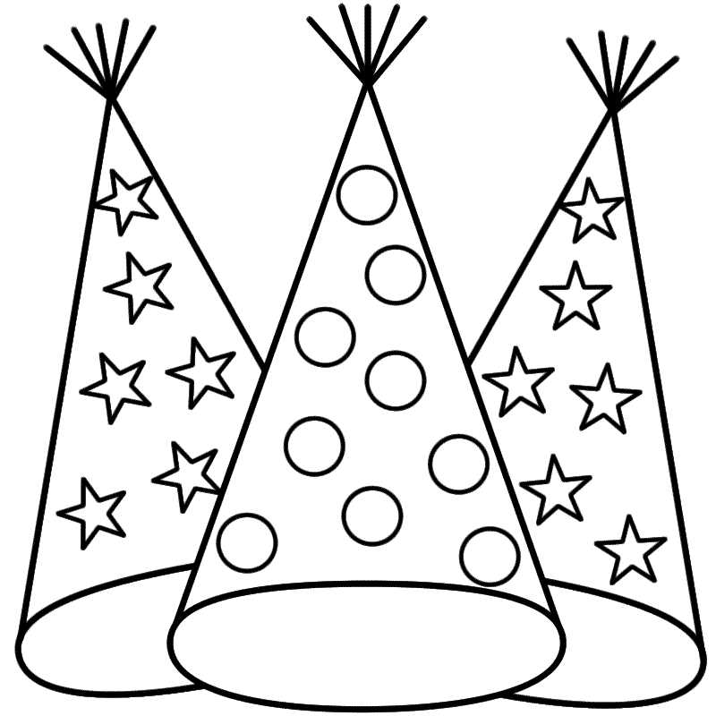 800x800 Happy New Year Hat Coloring Pages