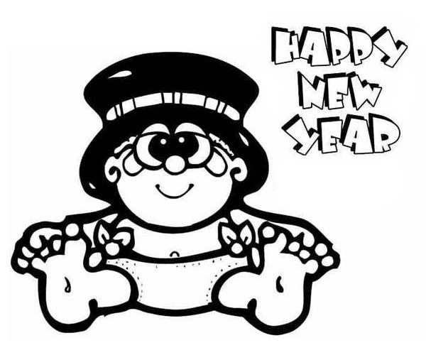 600x500 Sweet Baby New Year In Big Hat Coloring Page