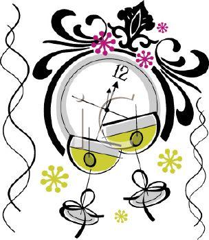 304x350 New Years Eve Clock Clip Art