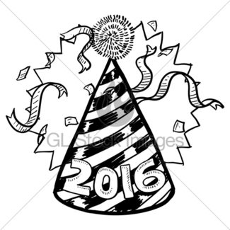 325x325 New Year's Eve Party Hat With Confetti Gl Stock Images