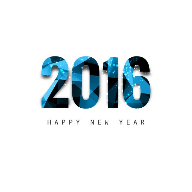626x626 Shiny Polygonal New Year 2016 Text Vector Free Download