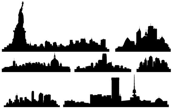 568x360 Free Vector City Skylines, Free Vector