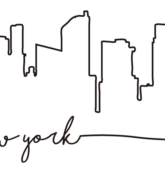 570x588 Nyc Skyline Print New York City Skyline Outline Poster City