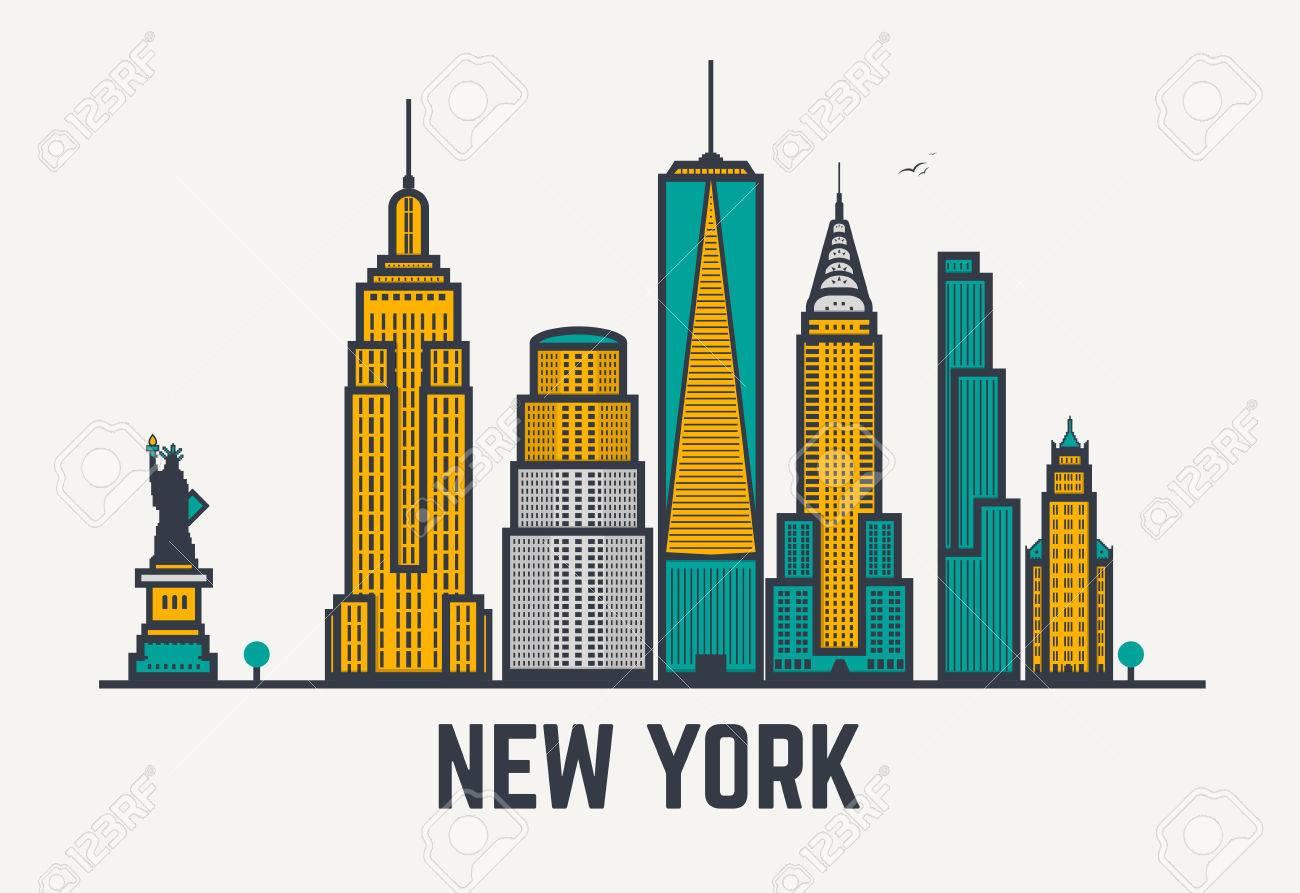 1300x893 New York City Architecture Skyline Silhouette. Line Pixel Style