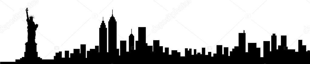 1022x212 New York City Black Skyline Vector Silhouette Illustration Stock