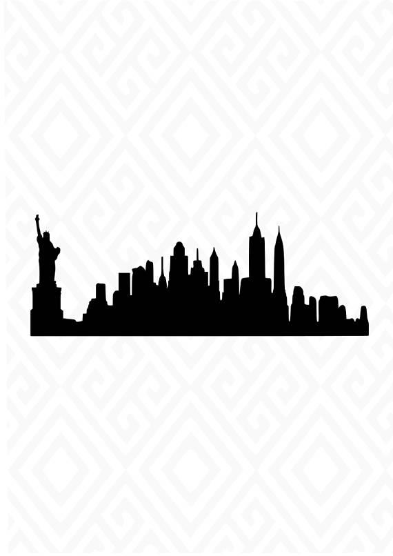 570x806 New York City Skyline Silhouette Svg Studio 3 Dxf Ai. Ps