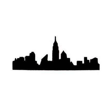 430x430 New York City Skyline Silhouette Unmounted Rubber Stamp Nyc
