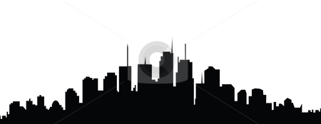 450x175 Cityscape City Skyline Black And White Clip Art Clipart Image
