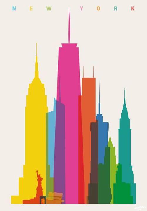 500x714 Color Clipart New York Skyline