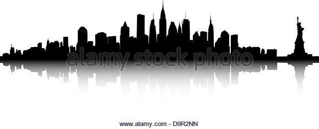 640x260 New York City Skyline Illustration Black And White Stock Photos