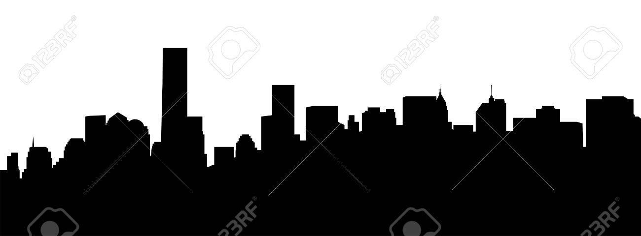 1300x480 Very Big Size New York Manhattan Skyline Silhouette Stock Photo