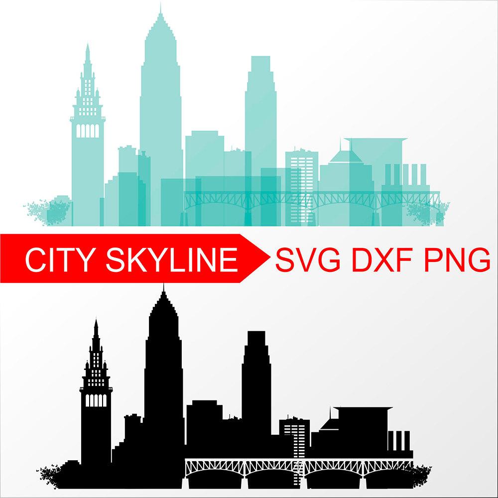 1000x1000 Cleveland Svg Vector Skyline Cleveland Silhouette Svg Dxf