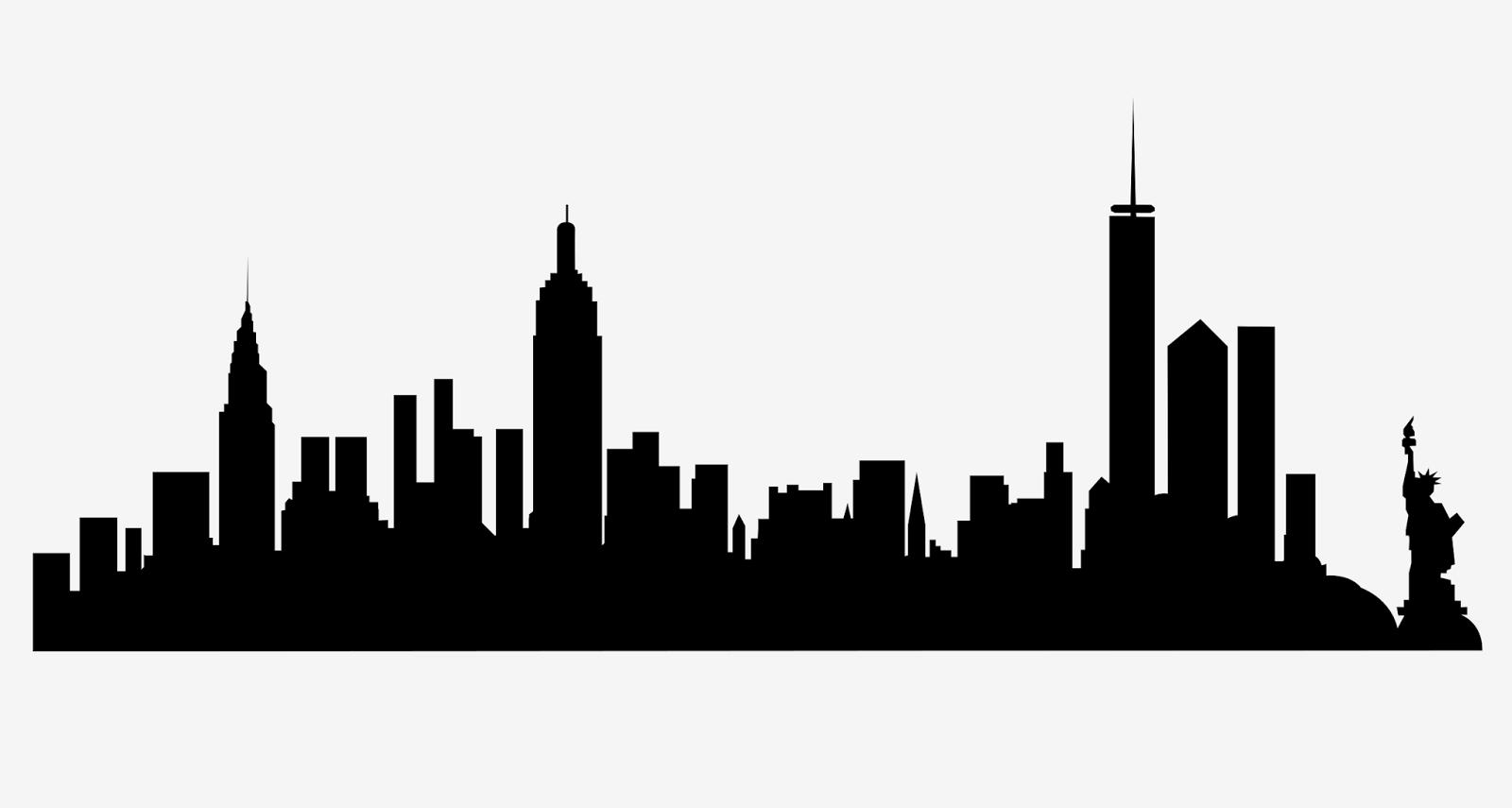 1600x855 New York City Skyline Silhouette Free Svg