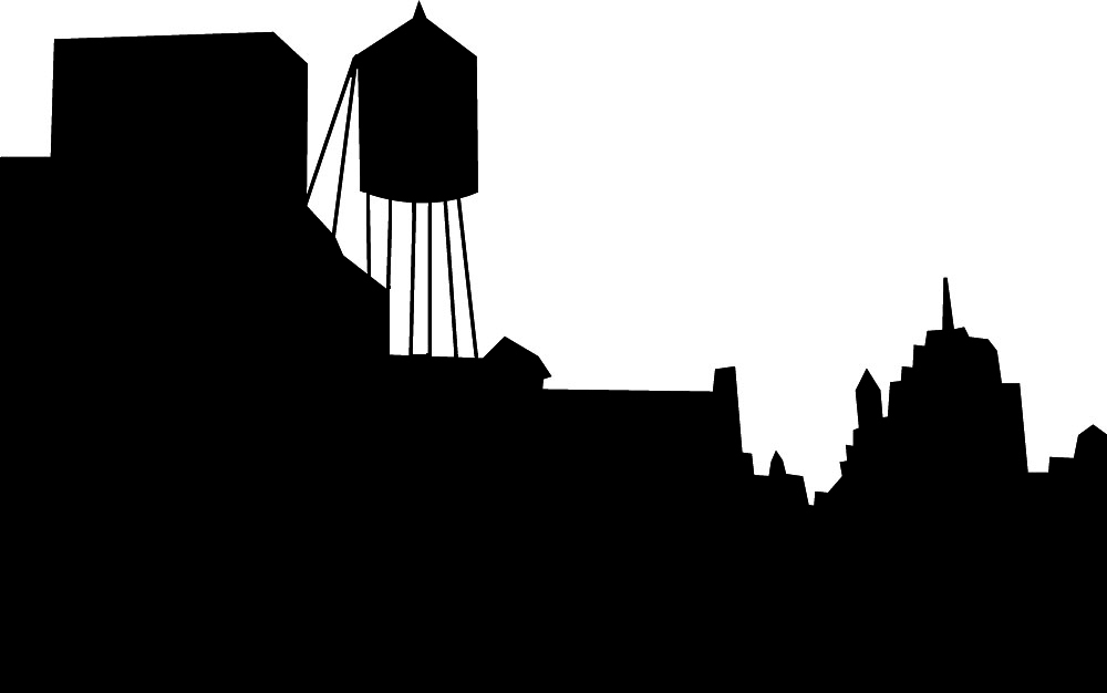 1000x626 Skyline Silhouette With Water Tower Clipart Silhouette